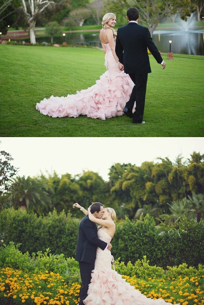 Real Maggie Bride, Jasmine, wearing a blush wedding dress by Maggie Sottero.