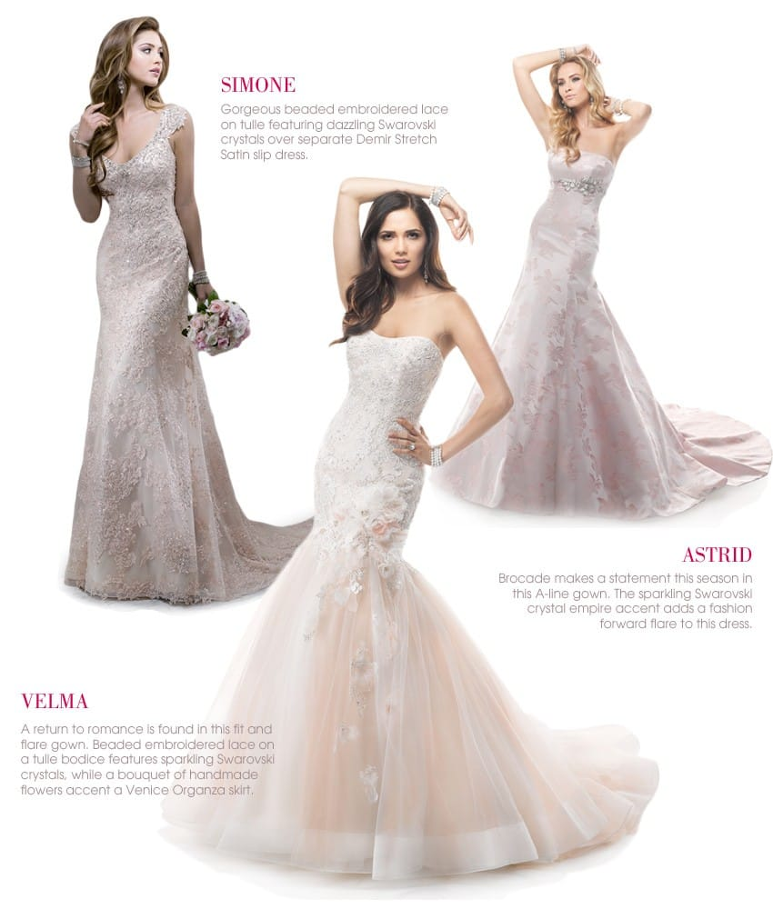 Pink wedding dresses by Maggie Sottero and Sottero and Midgley are perfect for Spring 2014 weddings.