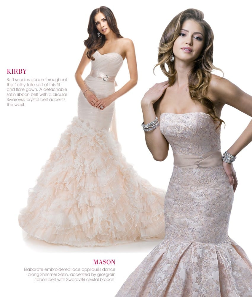 Blush wedding dresses by Maggie Sottero and Sottero and Midgley are perfect for Spring 2014 weddings.