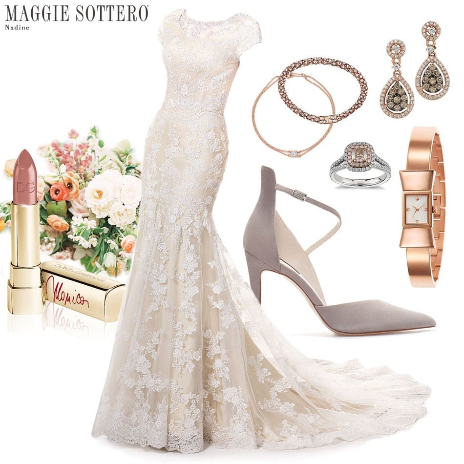 Maggie Sottero's modest wedding dress, Nadine, styled with rose gold accessories.