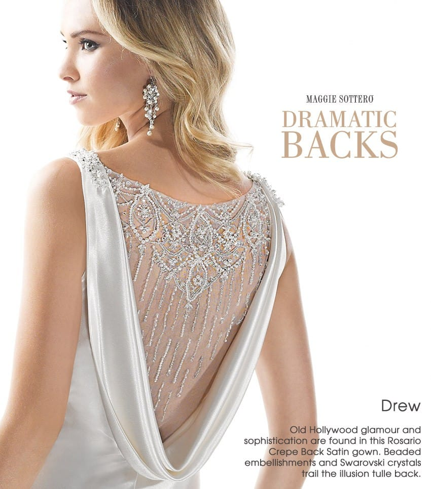 wedding dress trend dramatic back Maggie Sottero - Drew