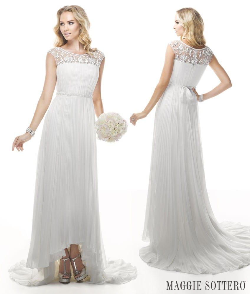 Maggie Sottero's Leisl, a Grecian wedding dress.