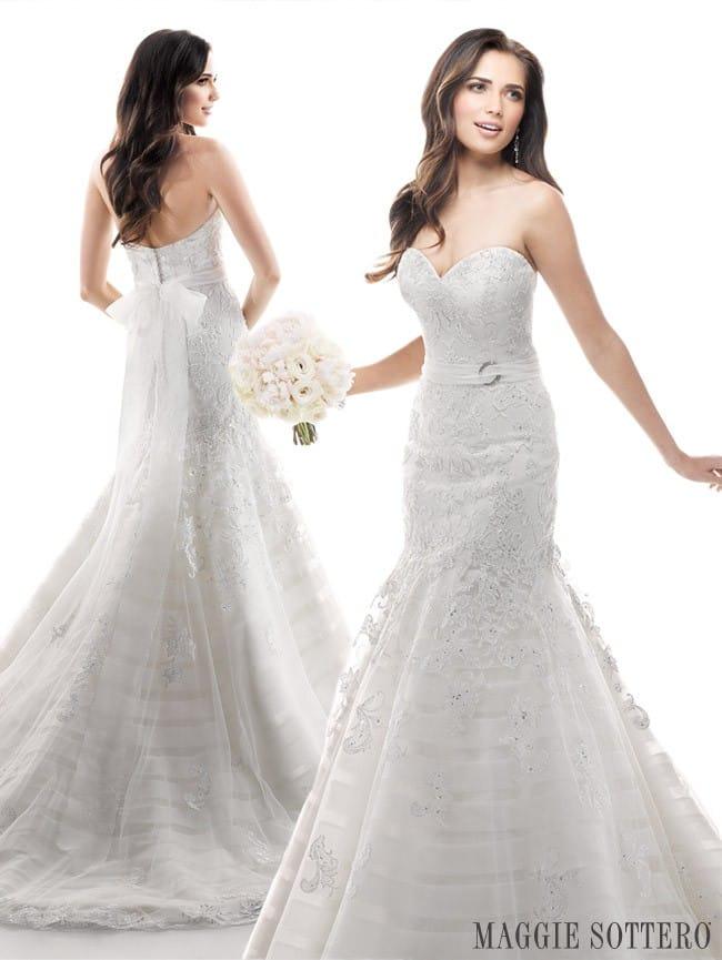 Maggie Sottero's Phoenix, a romantic lace wedding dress.