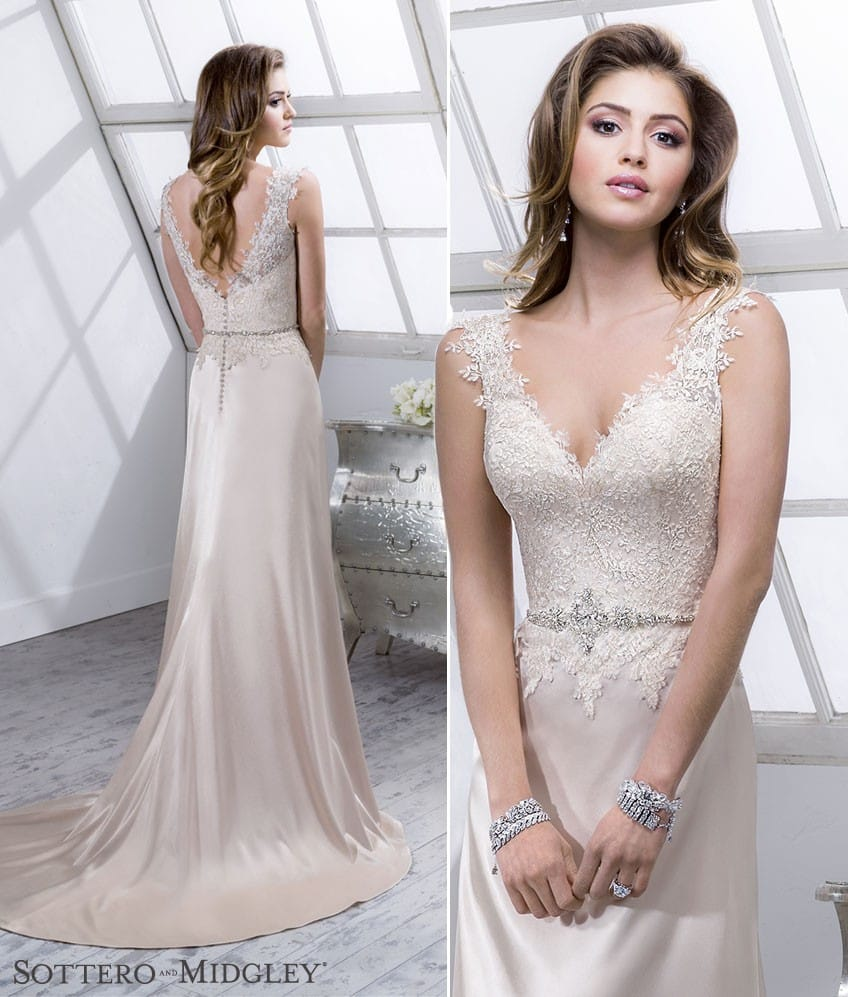 Lenora from Sottero and Midgley. A gorgeous satin lace wedding dress.