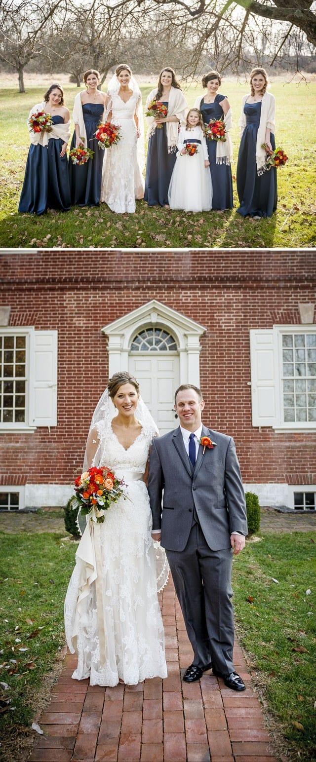 Maggie Bride, Lauren, wearing our lace Bronwyn wedding dress.