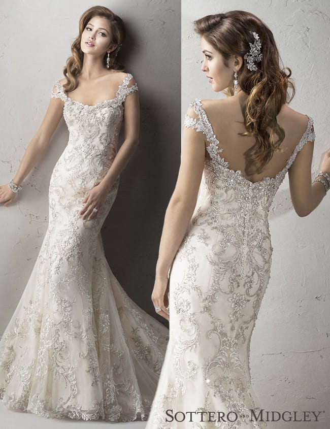 Sottero and Midgley's Ettiene gown, a dazzling fit-and-flare wedding dress with cut-out shoulders.