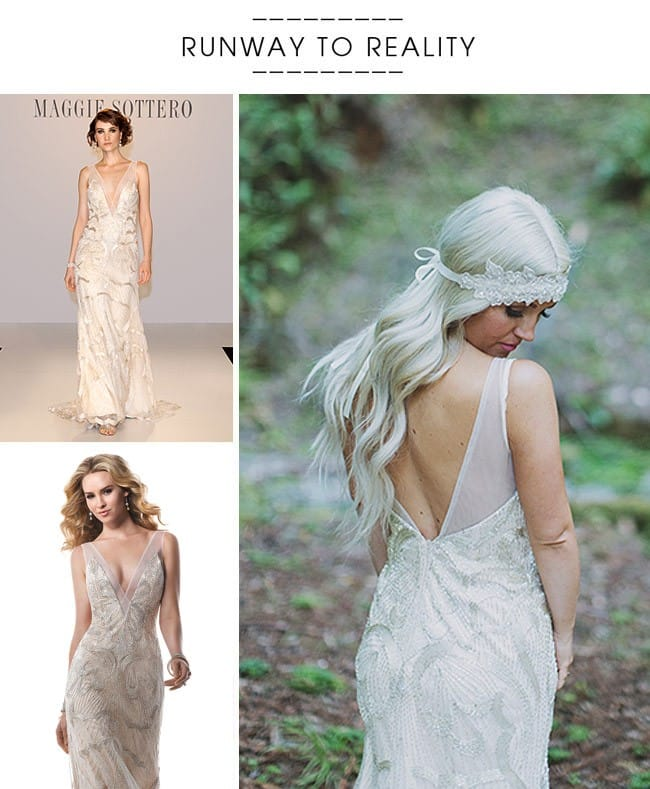 Maggie Bride, Ashley, wearing our Gianna wedding dress for her romantic, woodland wedding!