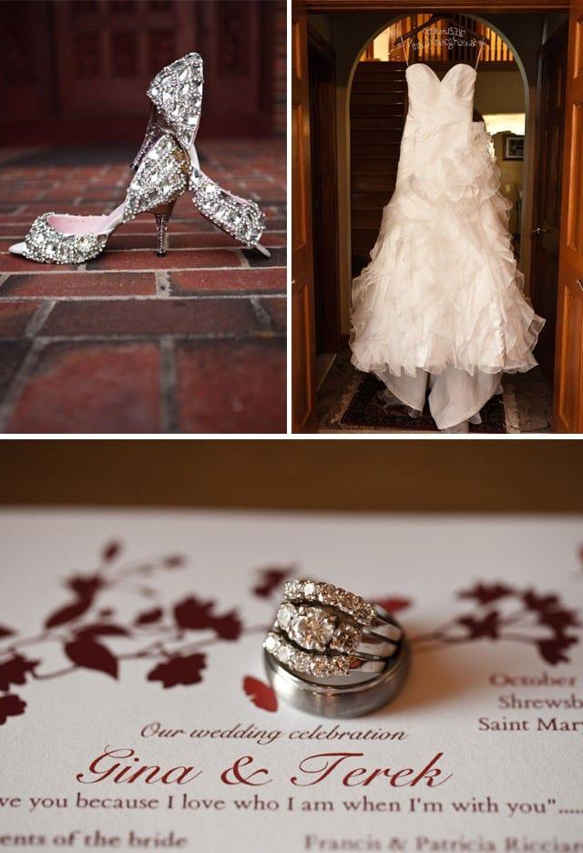 Maggie Bride, Gina, wearing an romantic strapless wedding dress.