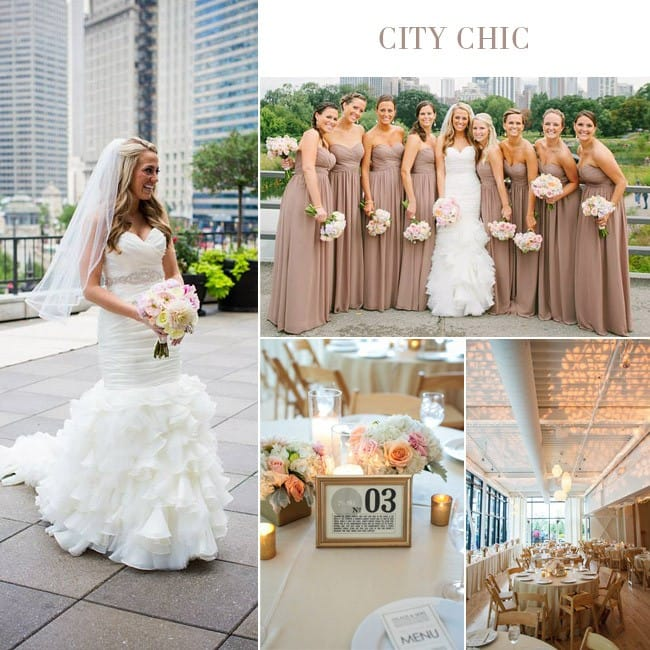 City chic wedding featuring fit-and-flare wedding gown, Divina, by Maggie Sottero.