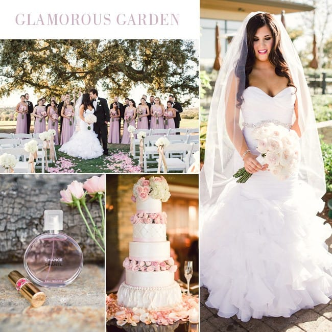 Glamorous garden wedding featuring dramatic mermaid wedding dress, Divina, by Maggie Sottero.