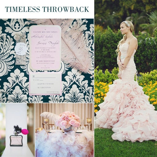 Vintage wedding featuring fit-and-flare wedding gown, Divina, by Maggie Sottero.