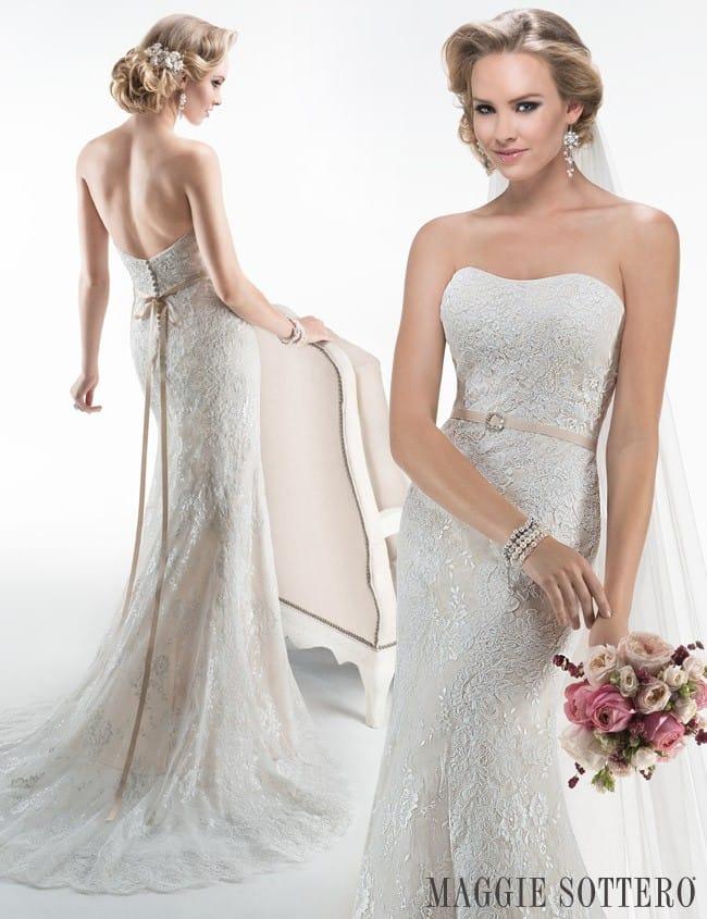 Maggie Sottero's Abigail, a sparkly lace wedding dress with subtle sparkle.