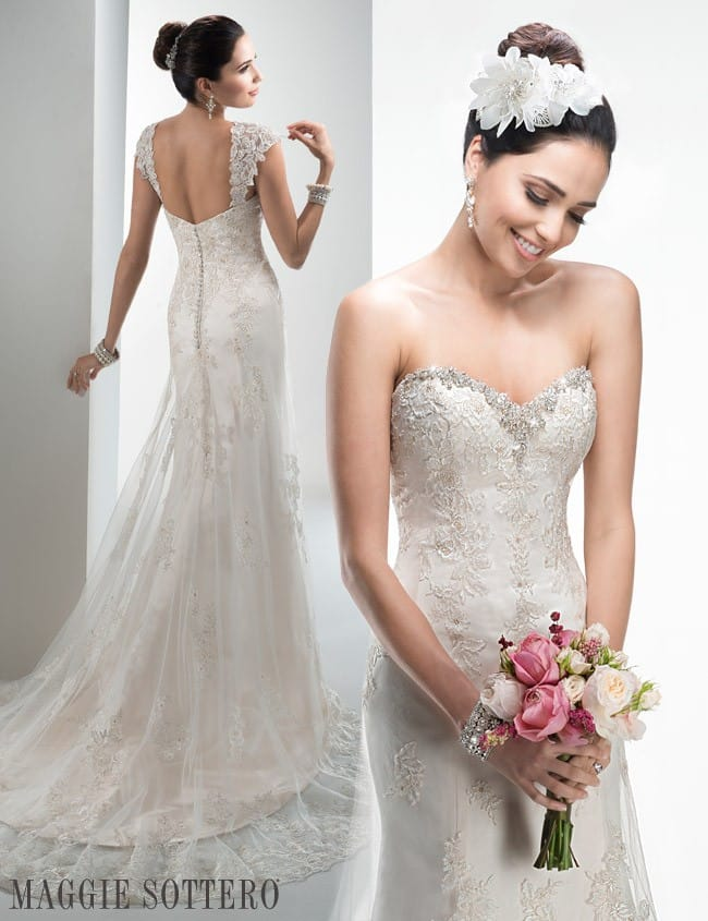 Maggie Sottero's Bethany, a gorgeous lace slim a-line wedding dress with embellished sweetheart neckline.
