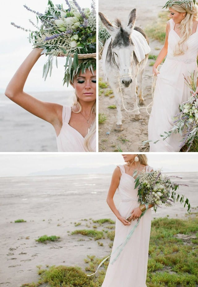 Grecian inspired photo shoot with blush pink wedding dress by Maggie Sottero.