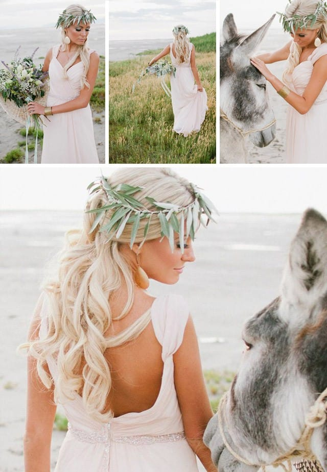 Blush wedding dress paired with Grecian details.