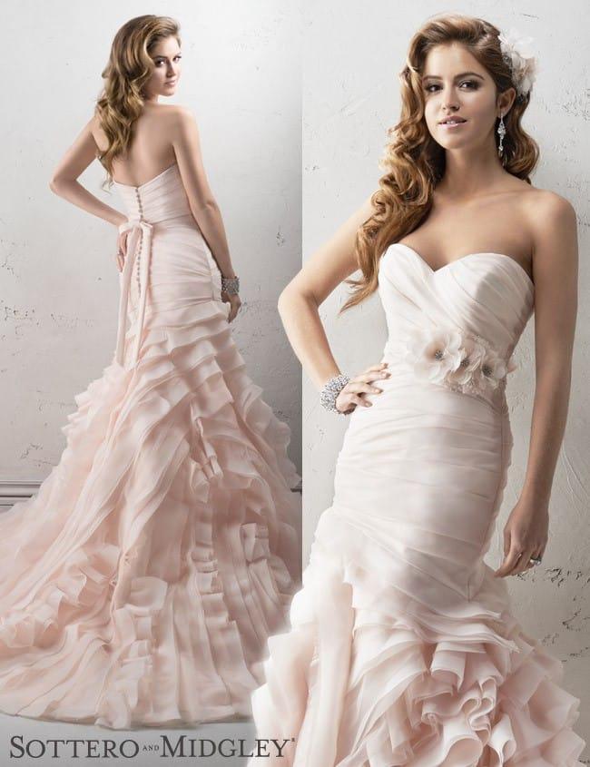 Sorrento, a blush mermaid wedding dress, by Sottero and Midgley.