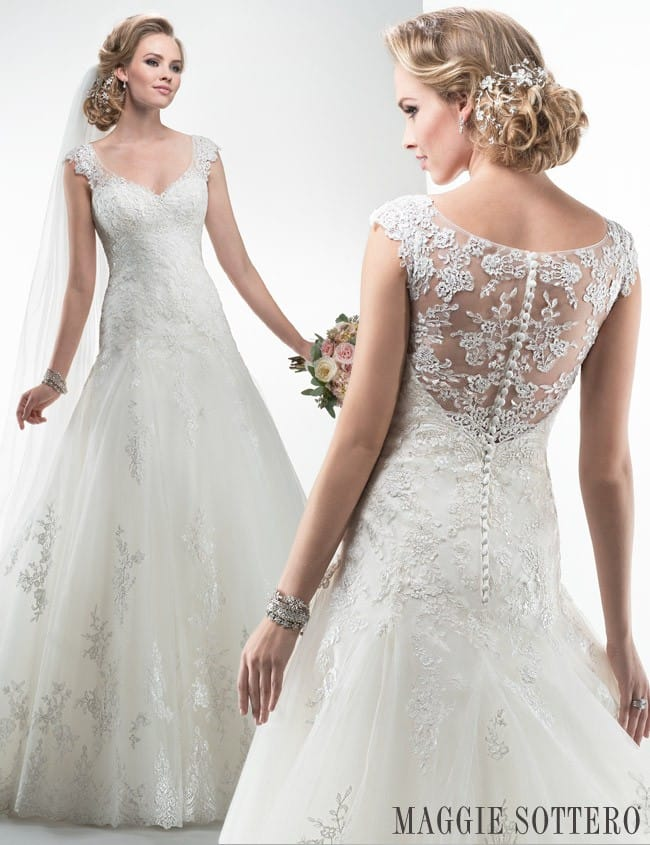 Sparkling A-line wedding dress, Briony by Maggie Sottero.