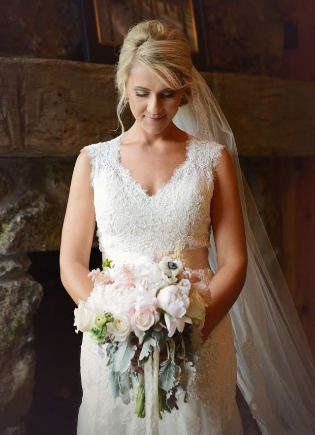 Gorgeous rustic wedding featuring stunning lace wedding dress with keyhole back, Bronwyn by Maggie Sottero.