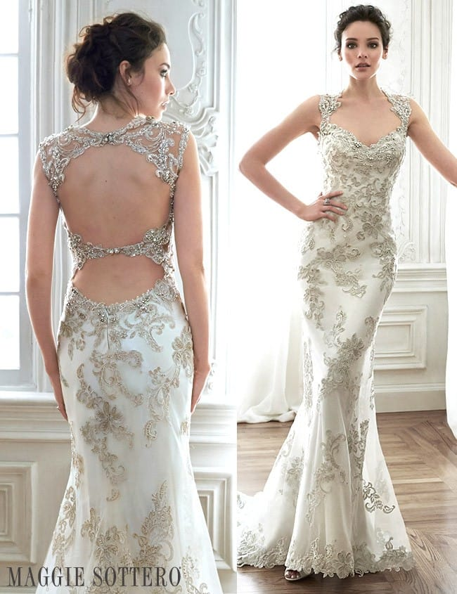 Maggie Sottero's Jade wedding dress from Spring 2015, a stunning lace sheath wedding dress.