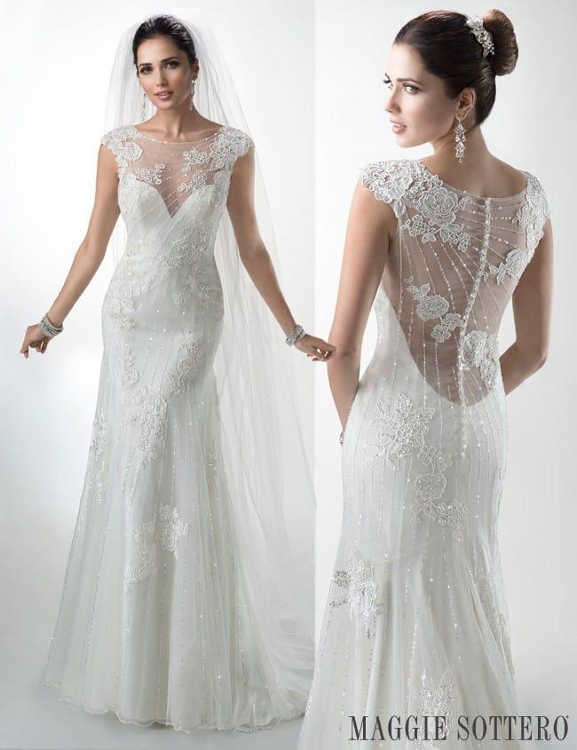 Maggie Sottero's Savannah Marie, an illusion back wedding dress.