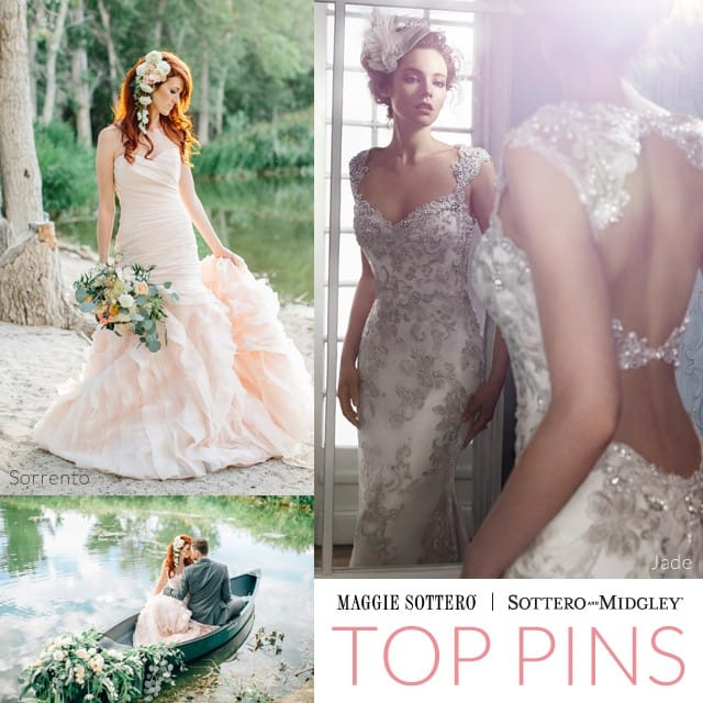 Stunning lakeside wedding inspiration from a styled photoshoot, featuring Sorrento by Maggie Sottero.