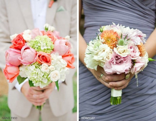 Maggie Brides with Hand tied bouquets and Nosegay bouquets