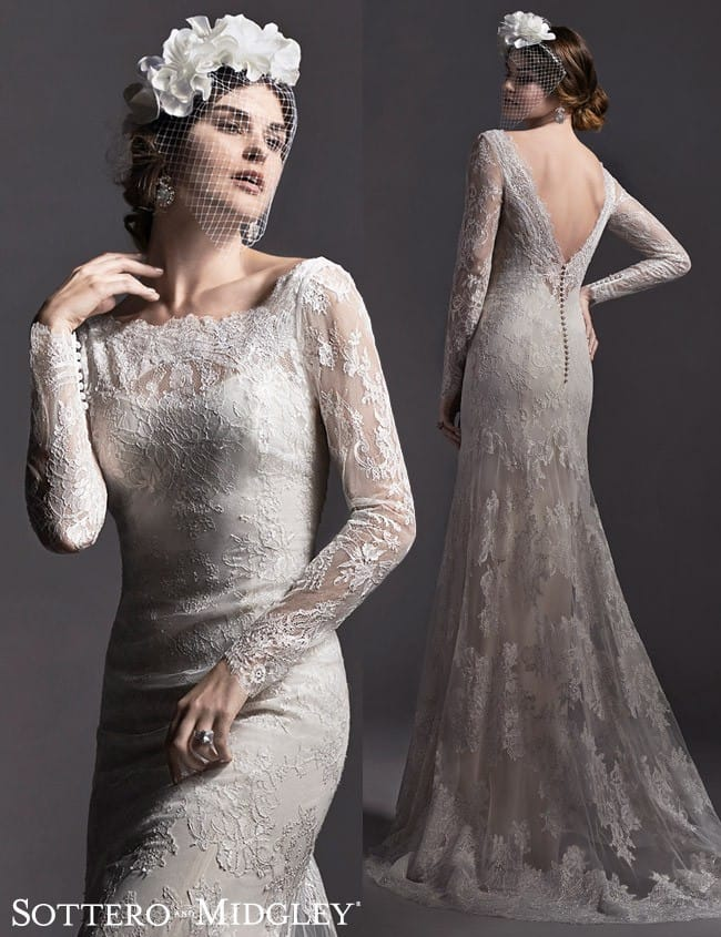 Danae... A gorgeous lace long sleeve wedding dress by Sottero and Midgley.