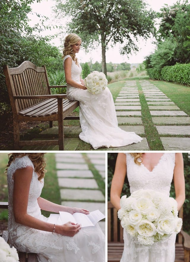 Rustic chic wedding with stunning keyhole back wedding dress by Maggie Sottero.