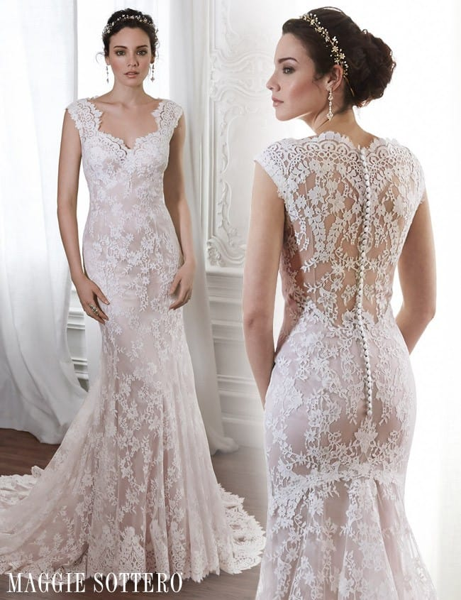 Londyn, a pale pink lace wedding dress by Maggie Sottero.
