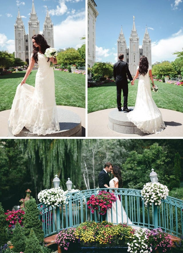 Maggie Bride, Caitlin, wearing a beautiful lace wedding dress from Maggie Sottero.