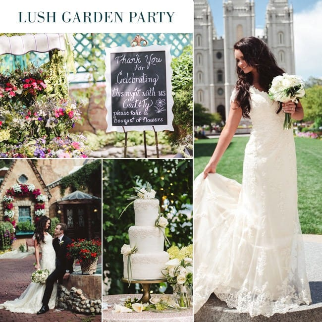 Garden party wedding with Maggie Bride, Caitlin, wearing Emma - Romantic Slim A-Line Lace Wedding Dress Styled Three Ways