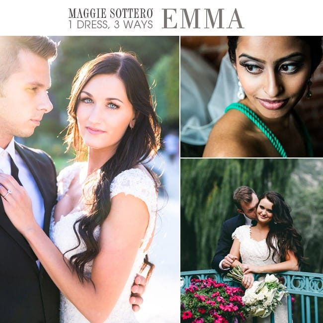 Emma, a romantic slim A-line lace wedding dress by Maggie Sottero, styled three ways!