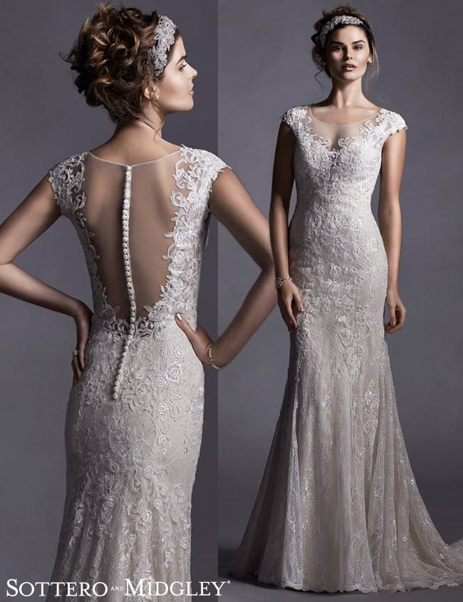 Quinlynn, a glamorous illusion back wedding dress by Sottero and Midgley