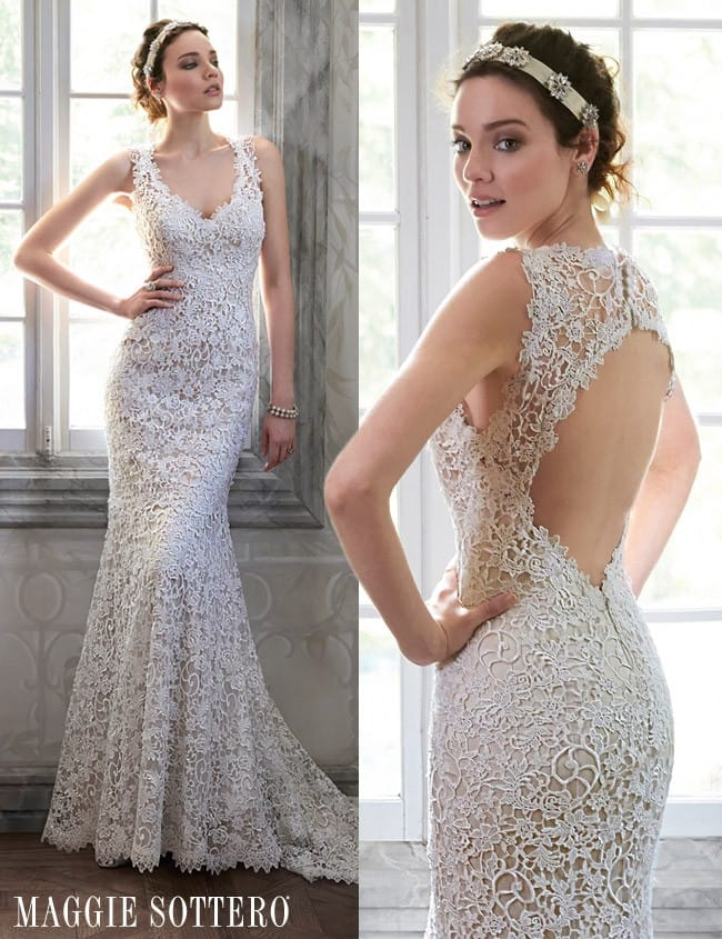 Breanna, a stunning lace wedding dress with keyhole back.