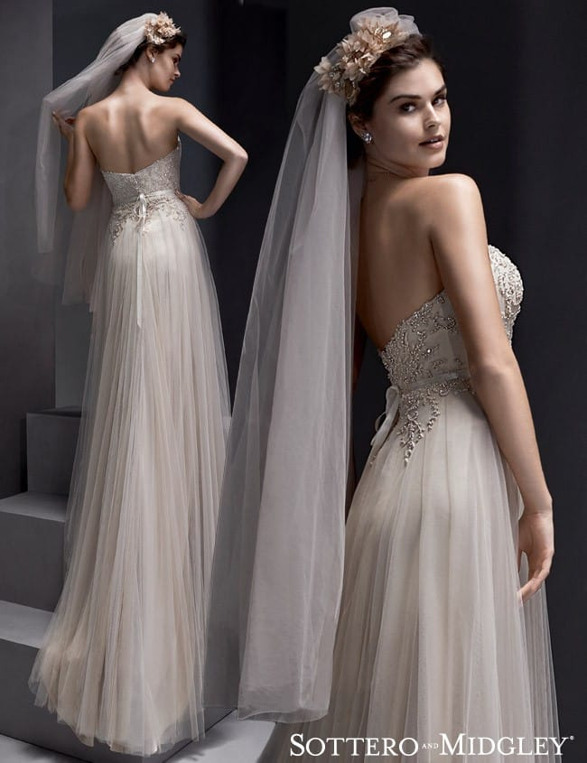 Romantic soft tulle wedding dress, Emsley, by Sottero and Midgley.