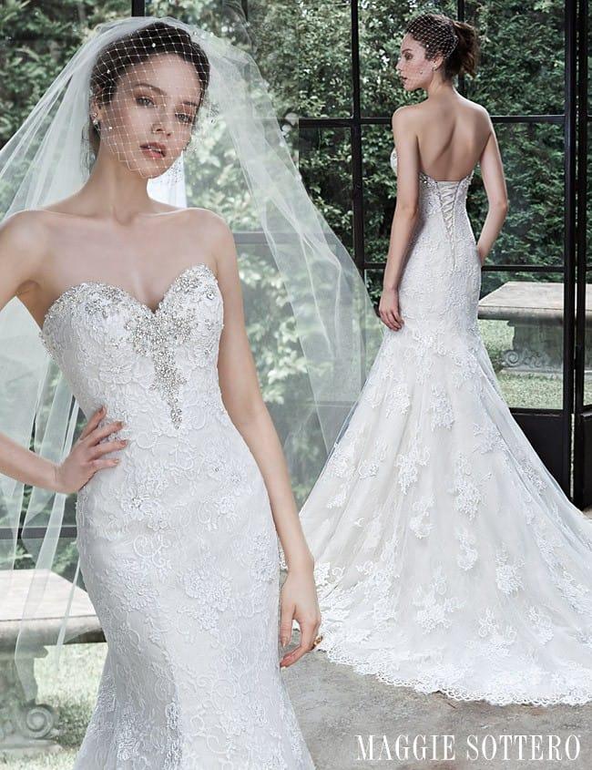 A stunning Swarovski crystal lace wedding dress, Amarosa by Maggie Sottero.