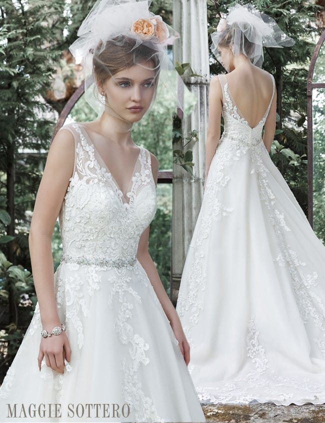Sybil, a floral lace ball gown by Maggie Sottero.