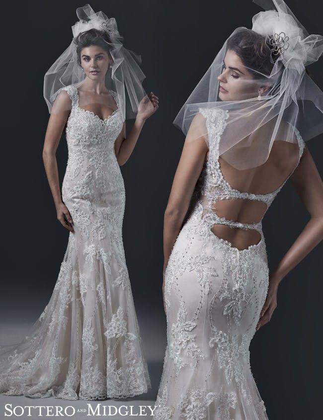 Unique open back wedding dress, Brecia, by Sottero and Midgley.