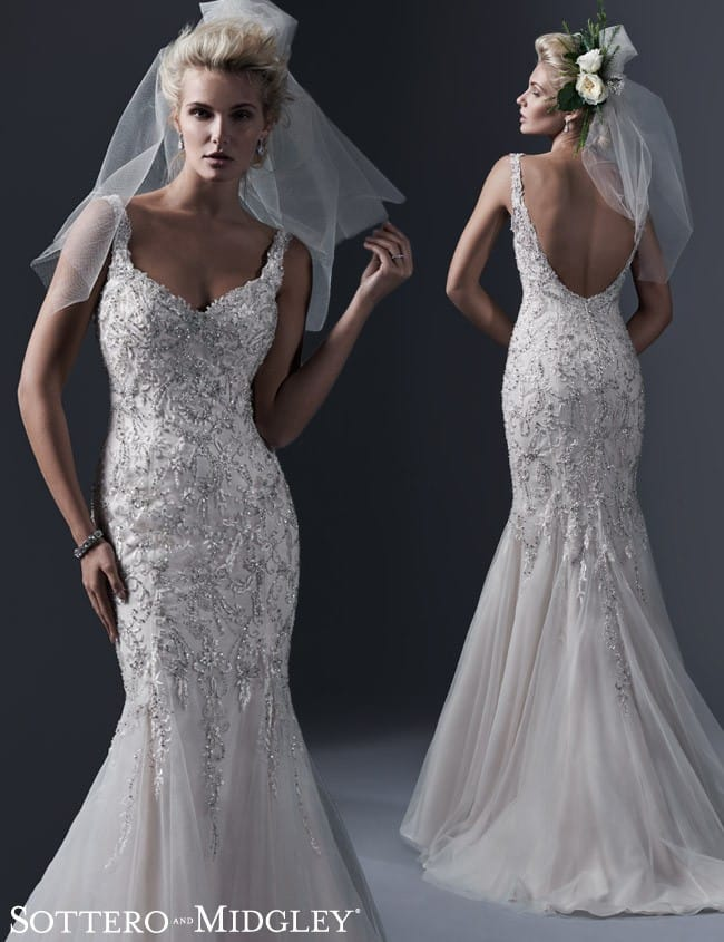 Holland, a glamorous fitted wedding dress by Sottero and Midgley.